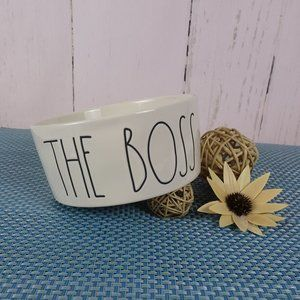 "RAE DUNN ""THE BOSS"" Ceramic DOG CAT Pet DISH BOWL"